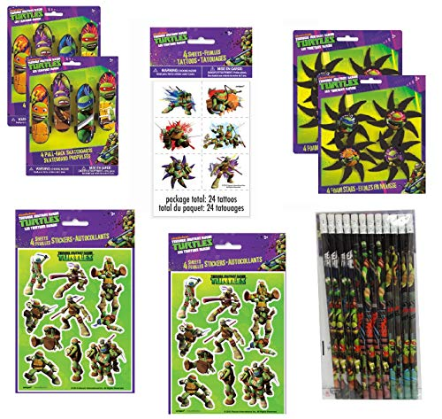 Teenage Mutant Ninja Turtles Birthday Party Favor Bundle Set includes Skateboard, Foam Stars, Pencils, Tattoos, Stickers -