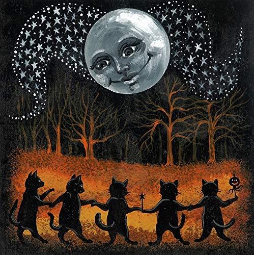 8x8 PRINT OF ORIGINAL PAINTING RYTA BLACK CAT HALLOWEEN NIGHT LANDSCAPE DANCE INTERIOR HOME SEASONAL AUTUMN DECOR DECORATION DESIGN FINE WALL -