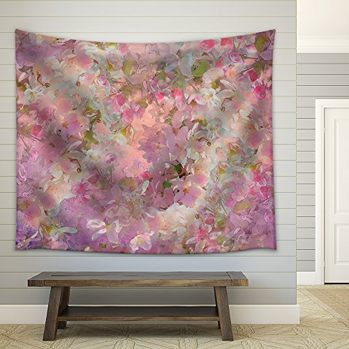 Seamless Pattern with Spring Cherry Blossom Painting Style Floral Art Fabric Wall