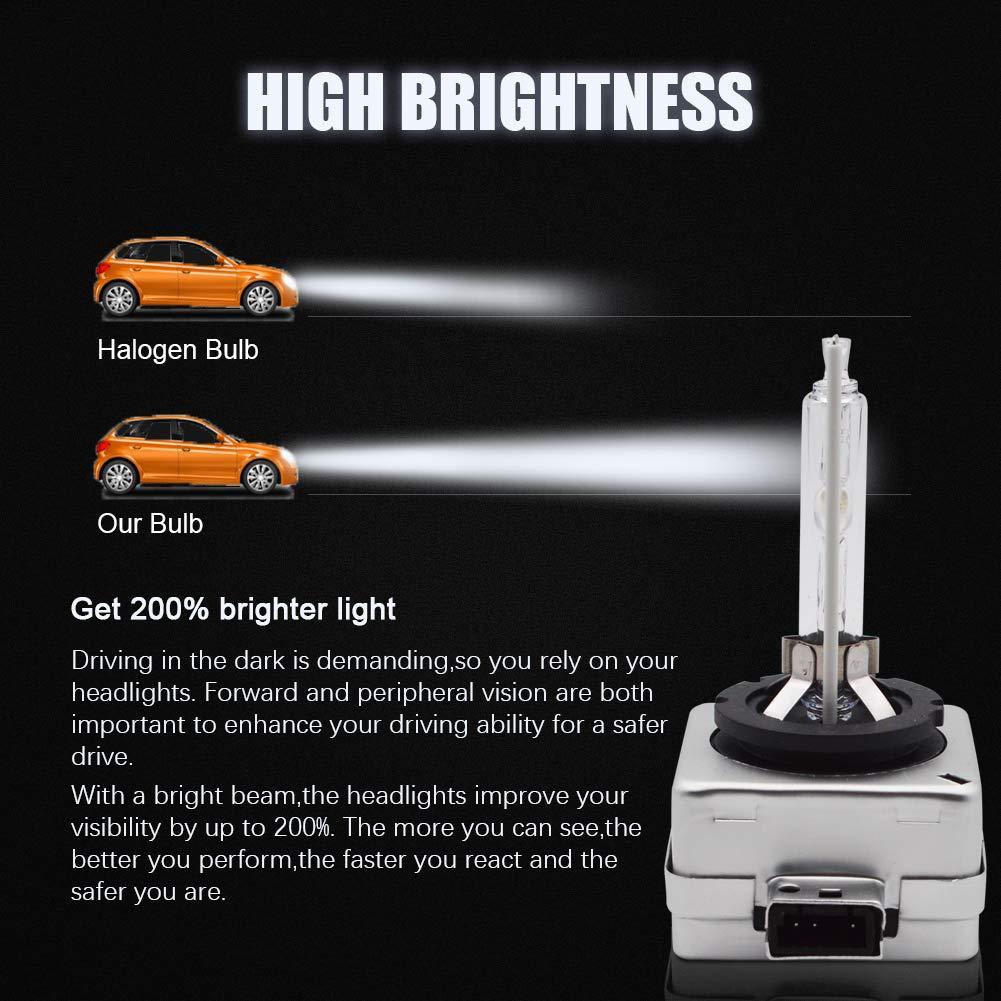 LncBoc D1S HID X/énon 35W 6000K Ampoule de Remplacement Kit Cool Blanc 3200LM 12V Lampe de Conversion de Phare de Voiture lot de 2