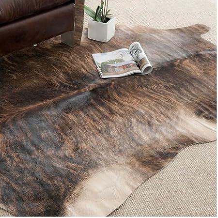 Handpicked Hacienda Argentinian Brown Black Cowhide Leather Rug (6' X 6) by Safavieh