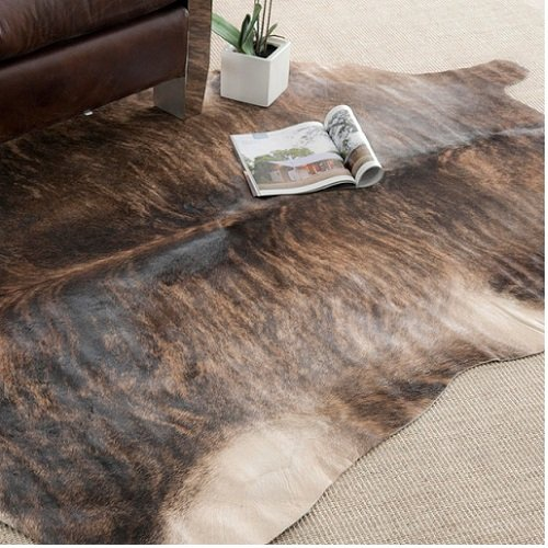 Brindle Cowhide Rug - Handpicked Hacienda Argentinian Brown Black Cowhide Leather Rug (5' x 7')