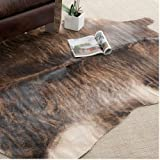 Leather Rugs Handpicked Hacienda Argentinian Brown Black Cowhide Leather Rug (5' x 7')