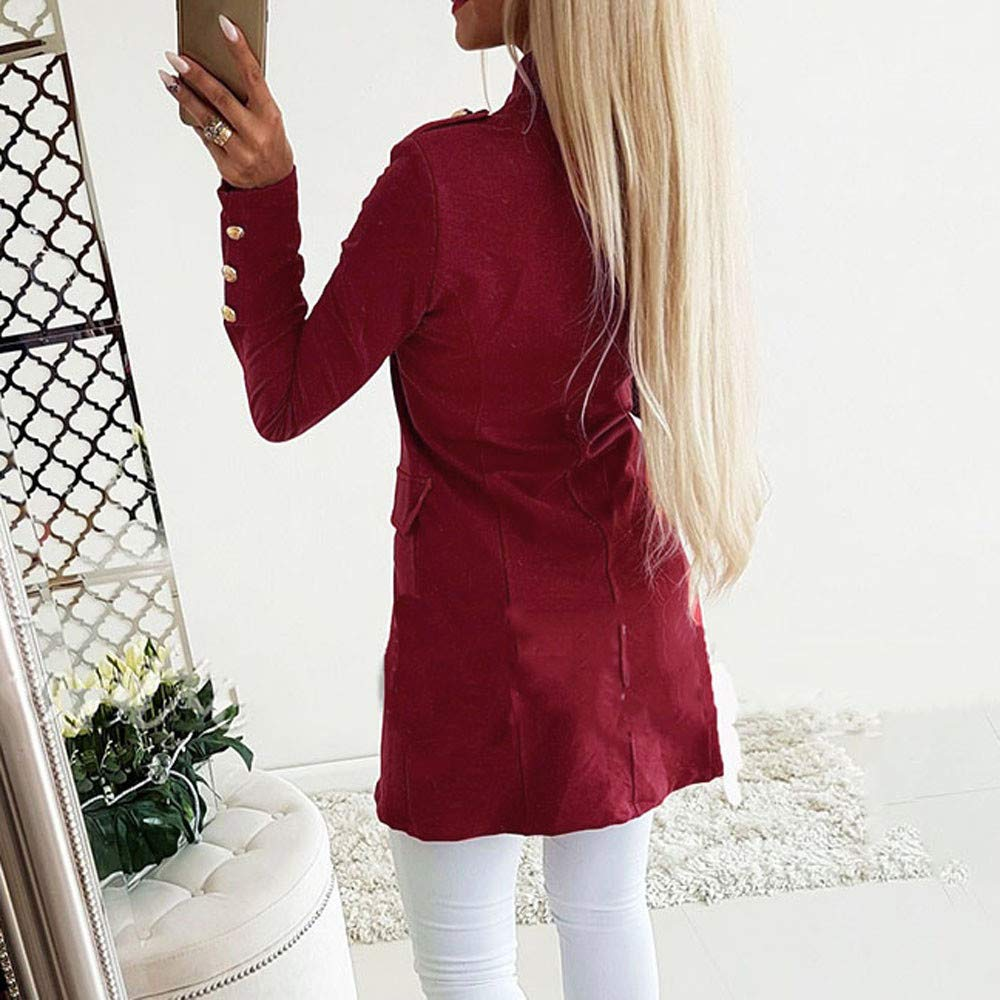 Womens Fashion Simple Office Lady Lapel Suit Coat Long Sleeve Slim Button Jacket