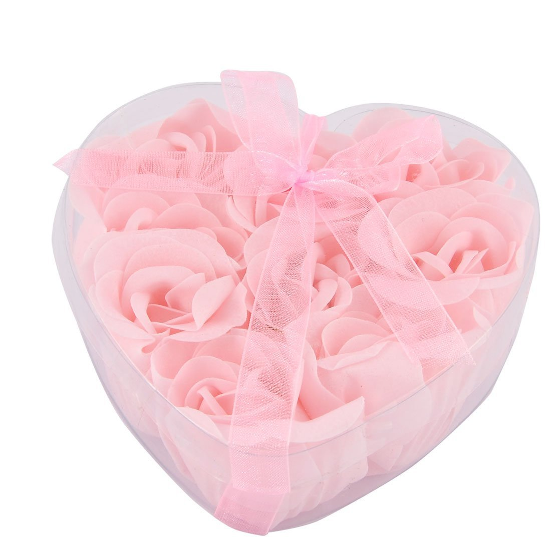 Amazon.com: eDealMax 9pcs Cuerpo Cuidado de la piel fragante pétalo de rosa Jabón en Forma de corazón caja de Color rosa: Health & Personal Care
