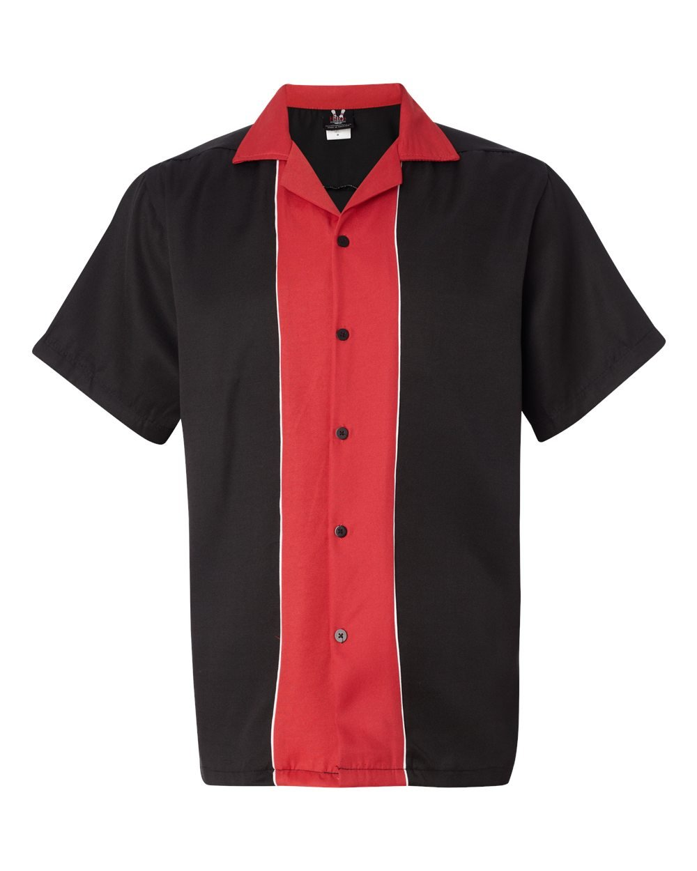 Hilton Men's Retro Quest Bowling Shirt, Black/ Red, Medium by Hilton