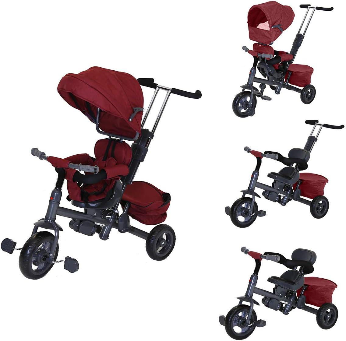 Charles Bentley Para Niños Triciclo 3 en 1 Estrella en Rojo con la Estructura del Asiento Reversible de Metal - Ligero