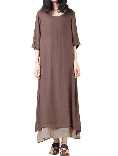 92e859dae85a Vogstle Donna Doppio Strato con Bordo Irregolare Cotone Lino Vestito a  Manica Lunga Corta  Amazon.it  Abbigliamento
