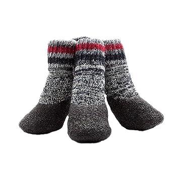 POPETPOP 2 Pares de Calcetines Impermeables para Perros Mascotas Botas de Cachorro Acolchadas de Invierno Zapatos