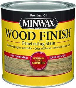 Minwax 227614444 Wood Finish Penetrating Interior Wood Stain, 1/2 pint, Classic Gray