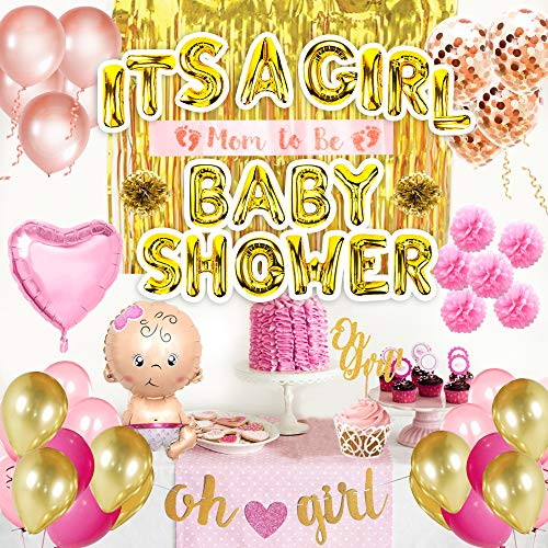 Girl Baby Shower Decorations for Girl kit- Premium Set of 56pcs White, Pink and Gold Party Supplies, Oh Girl & It's a Girl Banner, Photo Booth, Confetti Balloons, Flower pom pom, Mom to Be Sash -