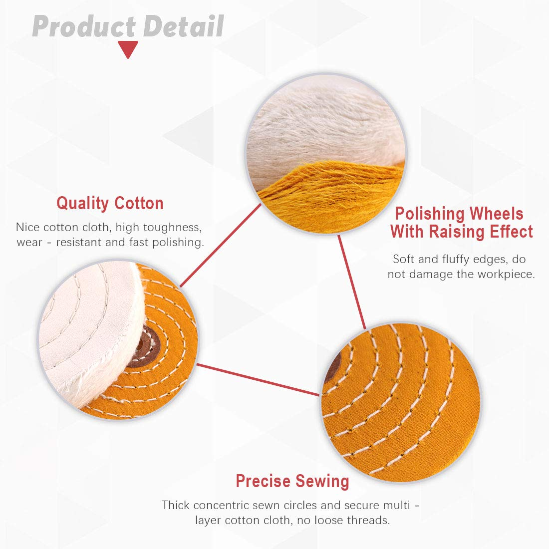 Hilitchi 2 Pcs 6 Inch Extra Thick Buffing Polishing Wheels for Bench Grinder 42 Ply and Yellow with 1//2 Arbor Hole White 60 Ply