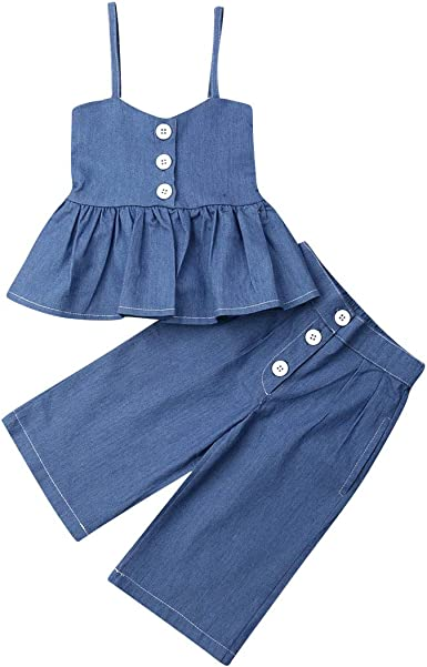 Toddler Kids Baby Girls Ruffle Tops Wide Leg Jeans Leggings 2Pcs Outfits Clothes