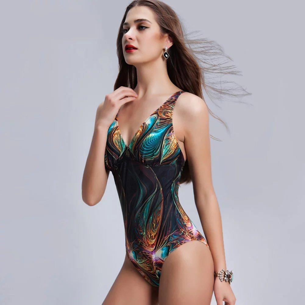 0224d6a31334c YiLang Retro Swimwear Women Bikini Peacock One Piece Swimsuit High Cut  Monokini at Amazon Women s Clothing store