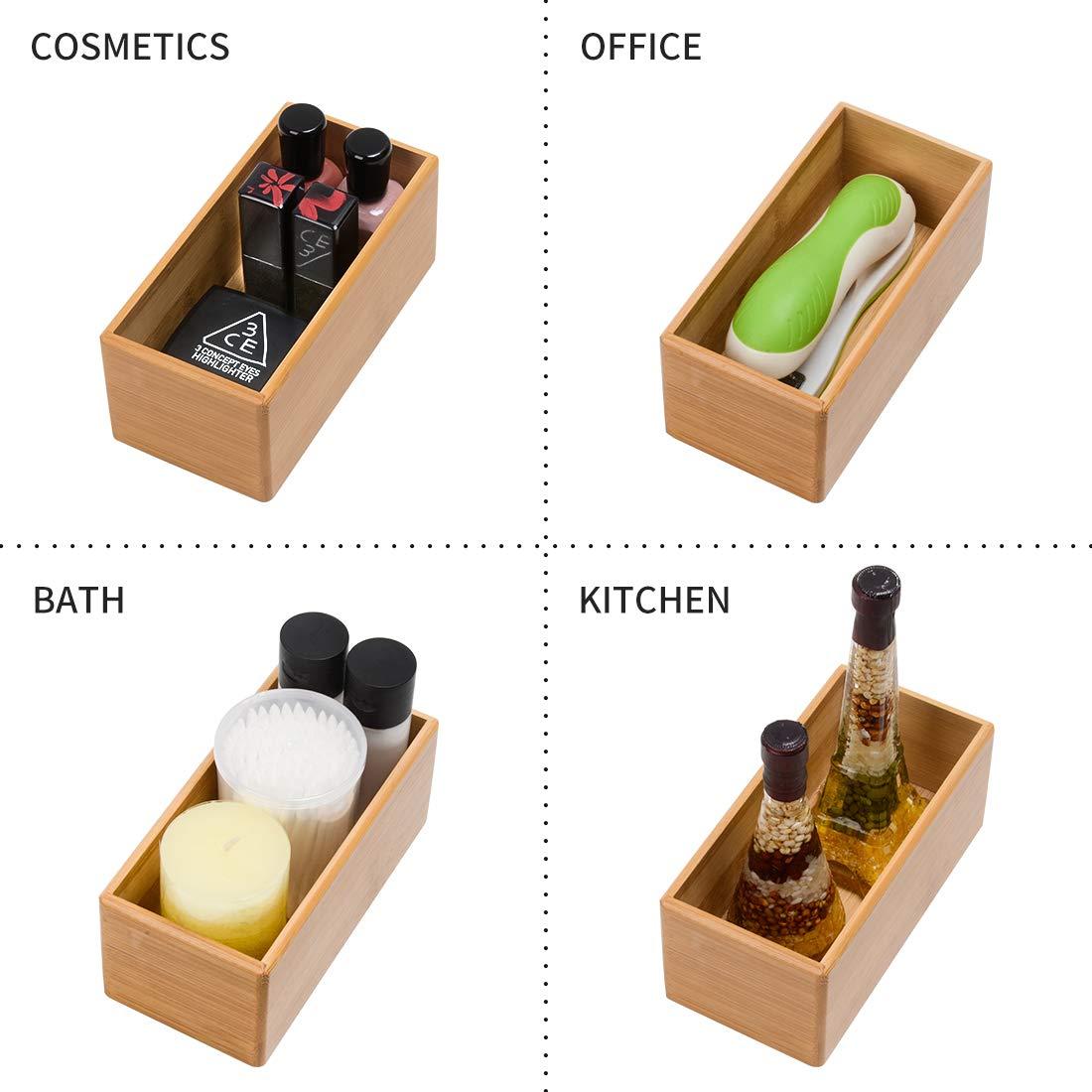 1232.5 Drawer Organizer Storage Box Bathroom Living Room Kitchen Bamboo
