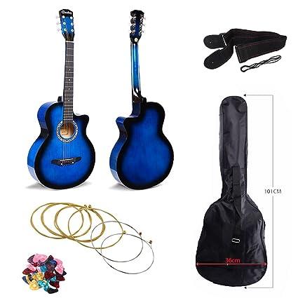 JJOnlinestore – Juego de guitarra acústica de color azul, tamaño ...