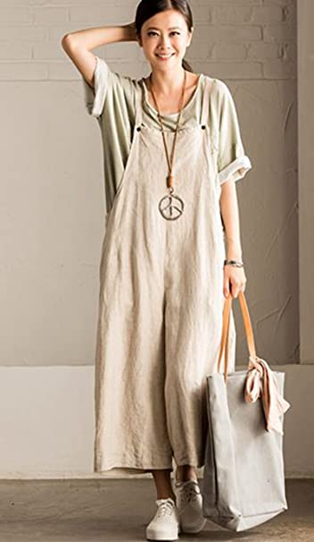 98dd478cd3e15 Amazon.com: FantasyLinen Jumpsuits for Women Plus Size Linen Overalls:  Clothing