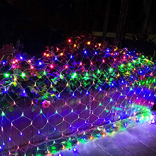 10x6.5Ft 320 LED Net Lights Indoor String Lights Party Christmas Xmas Wedding Home Garden Decorations 8 Modes for Flashing(Multi Color)