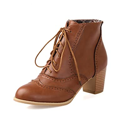 565b627cbc8 Inornever Womens Brogue Chunky Heel Ankle Booties Retro PU Lace Up Casual  Oxford Shoes Brown 6