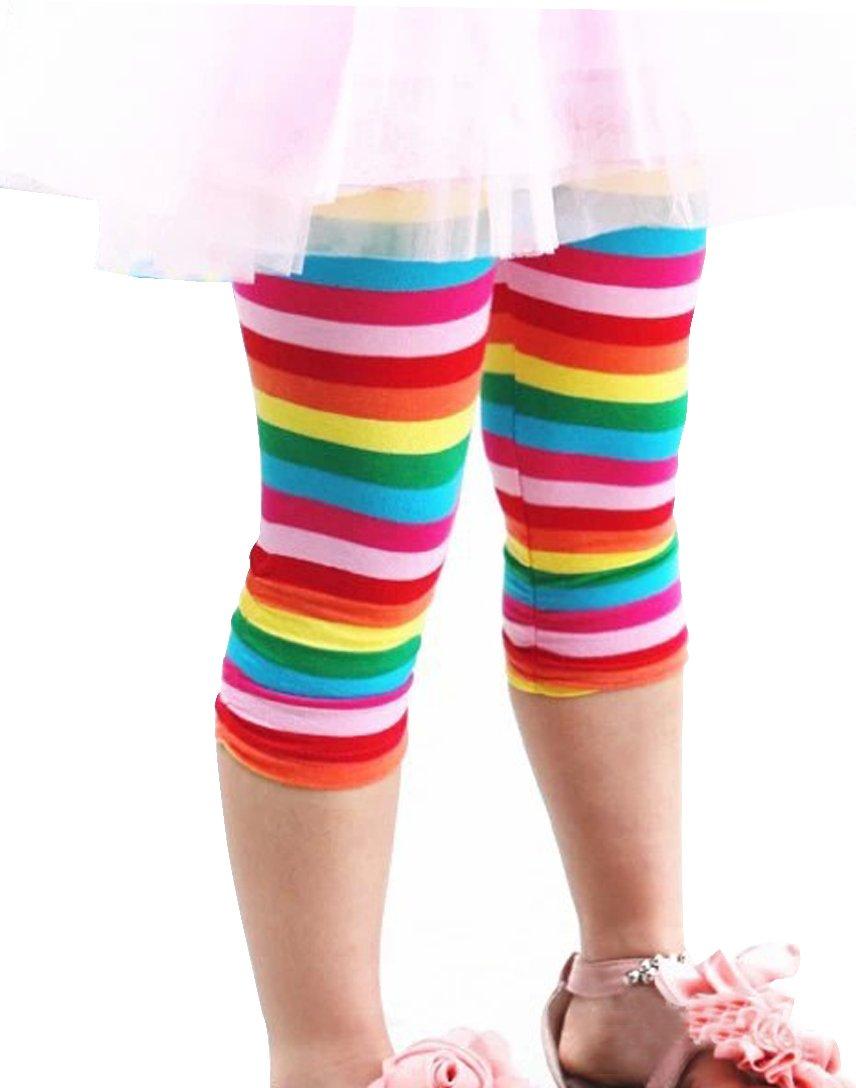 Toddlers Baby Little Girls Rainbow Stripe Skinny Leggings, 4-5years, Rainbow