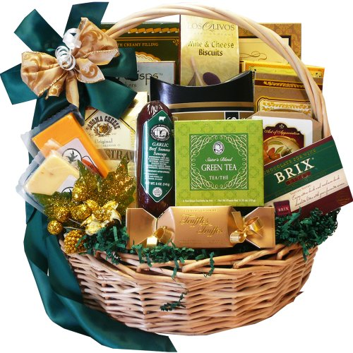 Well Stocked Gourmet Food and Snack Sampler Gift Basket with Smoked Salmon (Chocolate Option)