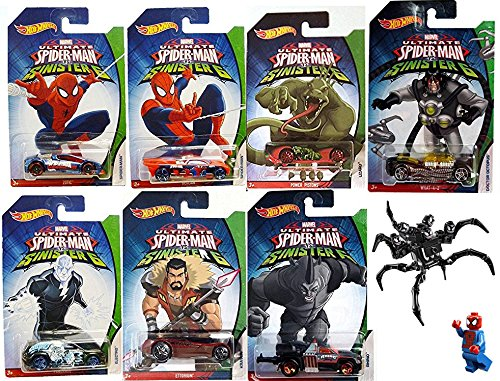 Hot Wheels Marvel Spider-Man Sinister 6 Villain Exclusive set Collectible 7 car bundle & Lego Venom Symbiote Kit Doctor Octopus / Lizard / Electro / Rhino / Kraven Car Bundle