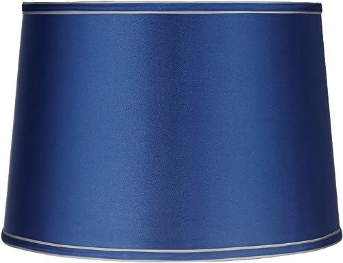Sydnee Satin Medium Blue Drum Lamp Shade 14x16x11 Spider – Brentwood