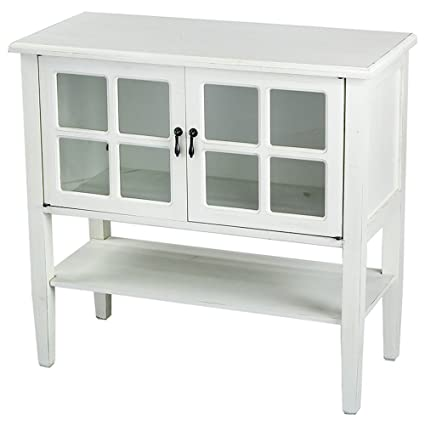 Etonnant Amazon.com: Heather Ann Creations Modern 2 Door Accent Console Cabinet With  4 Pane Glass Insert And Bottom Shelf Antique White: Kitchen U0026 Dining