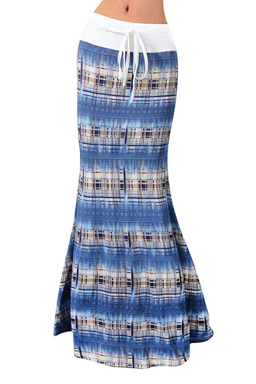 bluee Plaid Novia's Choice Women Floral Print High Waist Stretch Maxi Skirt Long Beach Skirt with Drawstring