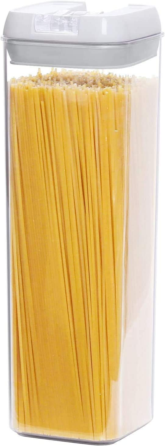 TIANGR Airtight Spaghetti Storage Containers,64-oz Tall Pasta Spaghetti Noodle Keeper Box with Airtight Cover | BPA-Free Pasta Canister Set | Dishwasher Safe - 1Pack