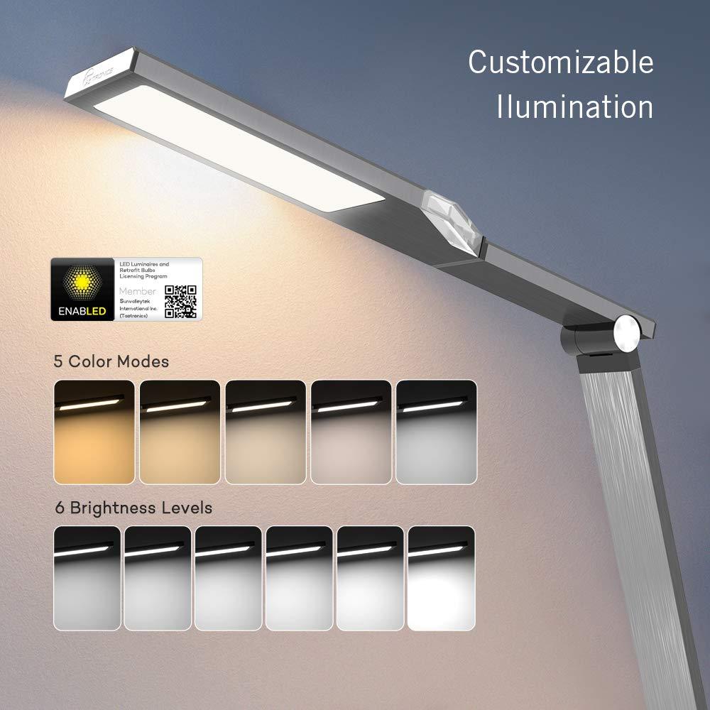 TaoTronics TT-DL16 Stylish Metal LED Desk Lamp, Office 5V/2A USB Port, 5 Color Modes, 6 Brightness Levels, Touch Control, Timer, Night Light, Official Member of Philips Enabled Licensing Program by TaoTronics (Image #4)