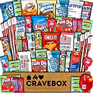 CraveBox Care Package (45 Count) Snacks Food Cookies Granola Bar Chips Candy Ultimate Variety Gift Box Pack Assortment Basket Bundle Mix Bulk Sampler Treats College Students Office Staff Halloween