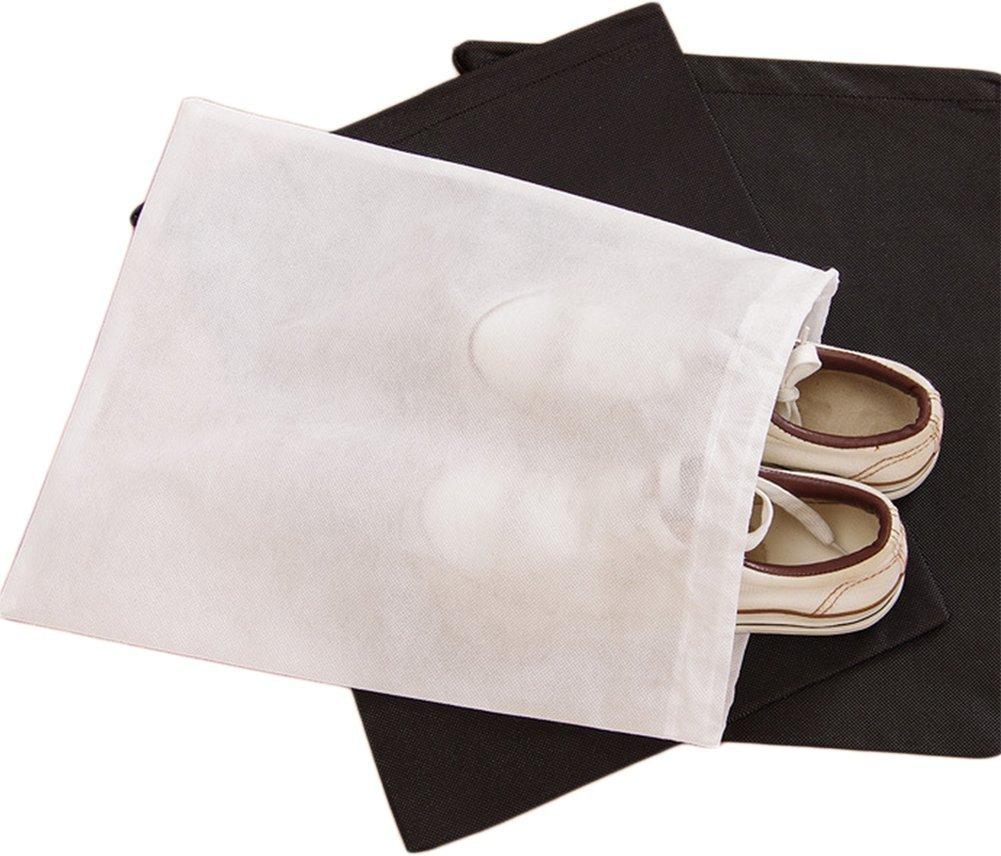 Milopon 6x Sac à Chaussures en Tissu Non-tissé avec Drawstring Antipoussière Shose Sacs Portables Pliable Organisateur Pour Voyage Sport 37x29cm (Blanc)