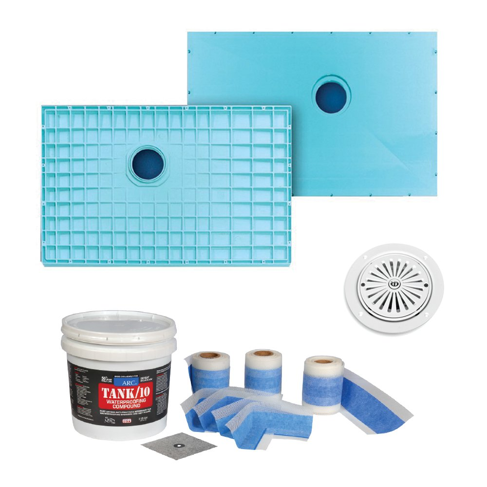 good Transolid K4530C-STD-VL K4530C-STD-VL 44-3/4-in x 30-1/4-in TrueDEK Classic Shower Base Kit with Standard Waterproofing Kit and Drain, White