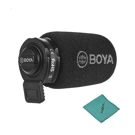 Jack de 3.5mm BOYA Mini Micr/ófono de Condensador Omni-direccional Mic Entrevistas//Videos//Discursos Grabaci/ón Compatible para iOS y Android Smartphone iPad iPod Touch