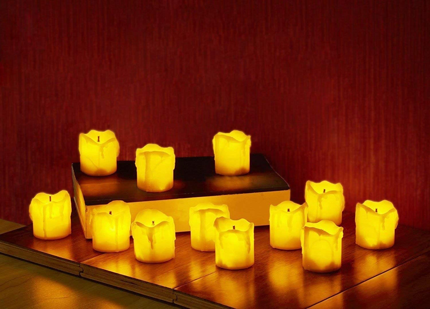 LED Flameless Votive Candles, Realistic Look of The Melted Wax and Flickering Flame, Battery Powered, Perfect for Wedding, Party and Christmas Decorations [Pack of 12]