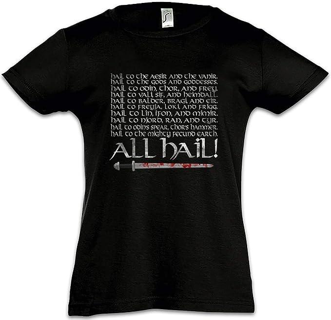 Urban Backwoods All Hail Camiseta para Niñas Chicas niños T-Shirt Odin Odhin Walhalla Walhall