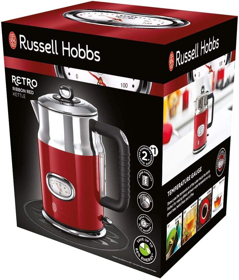 Russell Hobbs Retro - Hervidor de Agua Eléctrico (1,7 litros, Acero Inoxidable, 2400 W, Rojo) - ref. 21670-70: Amazon.es: Hogar