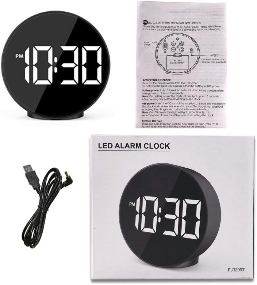ZJMM Reloj Despertador Electrónico con Control De Sonido Temperatura Junto A La Cama Pequeño Reloj Despertador Espejo Creativo Reloj Despertador