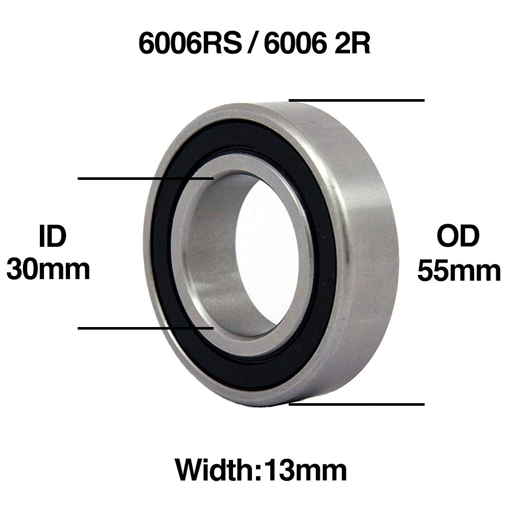 2 X 6006RS Carbon Steel Rubber Shielded Deep Groove Ball Bearings 30x55x13mm