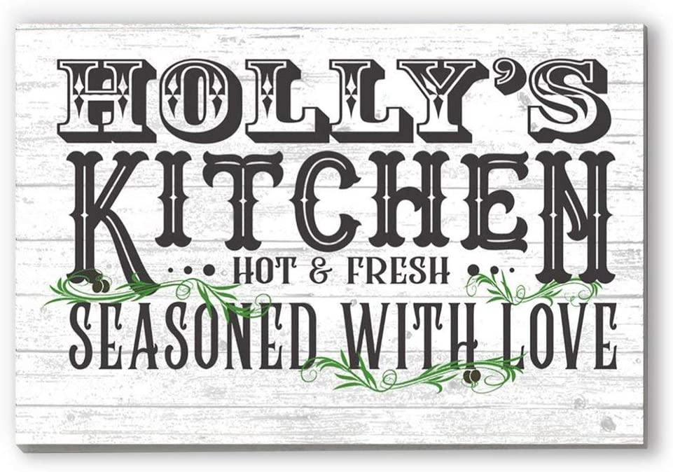Broad Bay Personalized Kitchen Sign Farmhouse Style Rustic Wall Art Customized Gift for Men Women Cooks Chefs