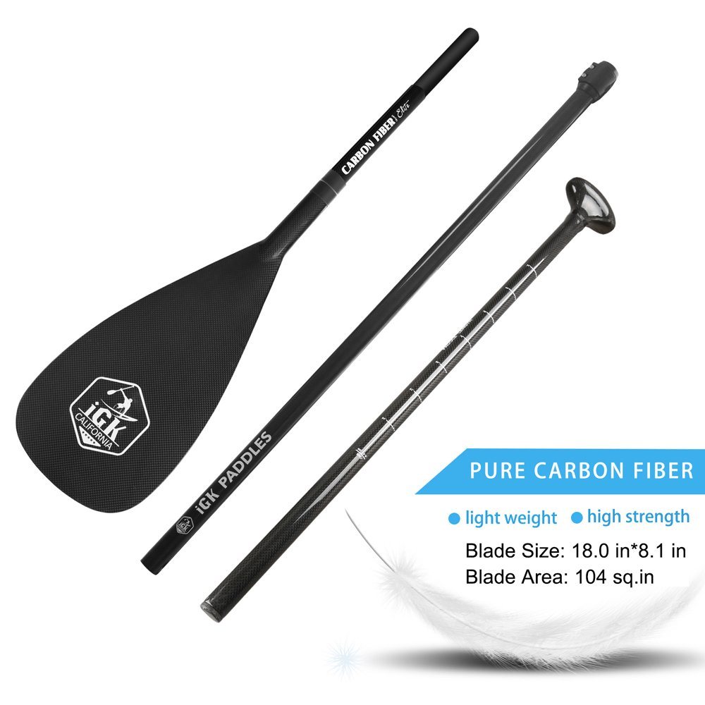iGK Pure Carbon Fiber SUP Paddle 3-Piece Adjustable Stand Up Paddle with Free Deluxe Paddle Bag