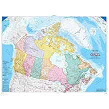 7.5-Feet wide by 5.8-Feet high. Prepasted wallpaper high quality mural from a photo of: Canada Map (Bilingual). High Res. Easy to hang remove and reuse (hang again) if you do as in our demo video.