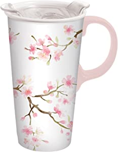 Cherry Blossom Ceramic Travel Cup - 5 x 7 x 4 Inches