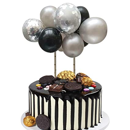 Astonishing Silver Black Balloon Cloud Cake Topper Mini Balloon Garland Cake Personalised Birthday Cards Epsylily Jamesorg