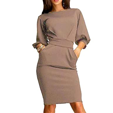gome-z 2018 Spring Summer Work Office Dress Half Sleeve O-Neck Elegant Ladies