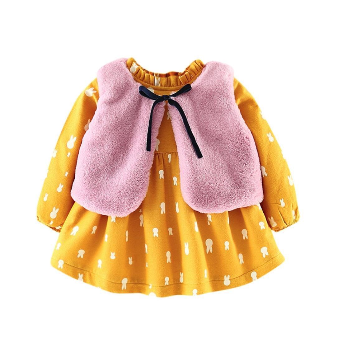 Abrigos Bebé, Xinan Ropa de dibujos animados de bebés recién nacidos Vestido de la princesa caliente + Trajes de chaleco Conjunto de ropa 0-24 Mes Xinantime_3439