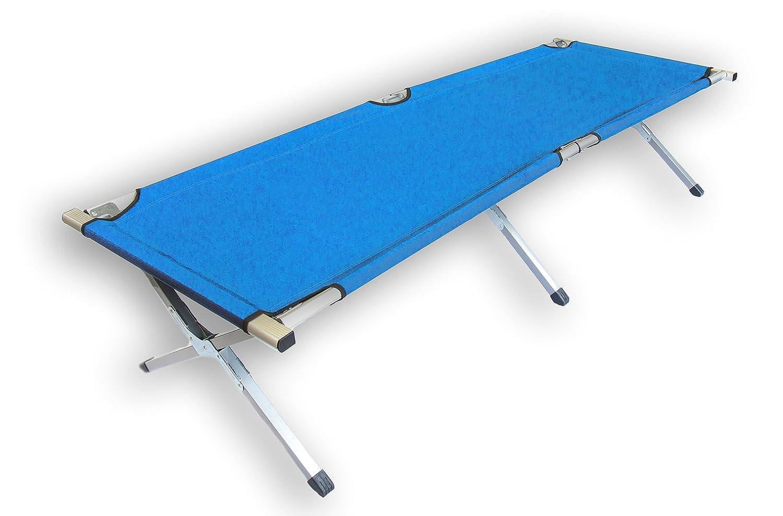 Feldbett Campingbett - Farbe - Aluminiumrahmen - mit Transporttasche (Royal-Blau x4)