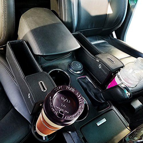 Zone Tech Driver and Passenger Side Pocket Organizer - Classic Black Premium Quality Coin Side Pocket with Cup Holder Organizer