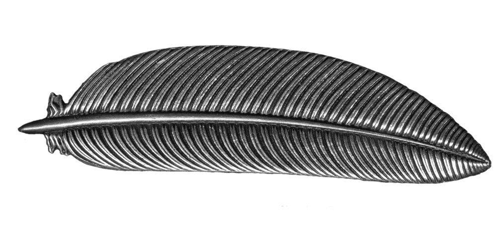Oberon Design Feather Hair Clip | Pasador, Broche de Pelo | Barrette de metal hecho a mano con clips franceses PB16